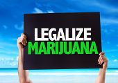 picture of marijuana  - Legalize Marijuana card with beach background - JPG