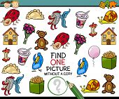 image of brain-teaser  - Cartoon Illustration of Finding Single Picture without Copy Educational Game for Preschool Children - JPG