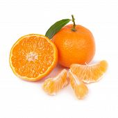 picture of clementine-orange  - Orange mandarin with green leaf isolated on white background - JPG