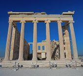 picture of backside  - Backside of the Erechtheion temple with ionic columns in Acropolis - JPG