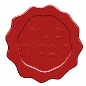 picture of passover  - Red Kosher for Passover wax seal illustration - JPG