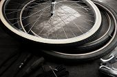 stock photo of workbench  - Bicycle repair in monotone - JPG
