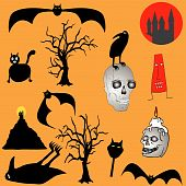 Halloween backgroud - various graphic elements