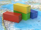 foto of ship  - Ship containers on the world map - JPG