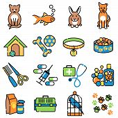 stock photo of bag-of-dog-food  - Pet animal icons showing toy - JPG