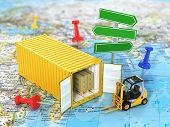 pic of forklift  - Open container with road sign and forklift stacker loader holding cardboard boxes on the world map - JPG