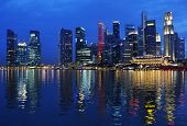 foto of singapore night  - Singapore city skyline at night - JPG