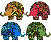 picture of indian elephant  - Stylized fantasy patterned elephants in Indian style - JPG