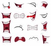 pic of angry smiley  - Illustration of a set of funny cartoon human or animals characters mouth with various expressions and emotions from fear to joy happiness sadness surprise boring and angry - JPG