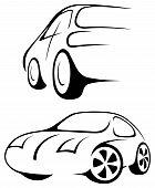 Car. Line Drawing.