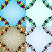 pic of rainbow piano  - piano frame with corners set in different colors - JPG