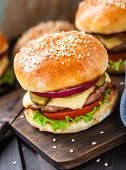 pic of burger  - Delicious burger with beef - JPG