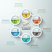 picture of circle shaped  - Modern infographics cycle template with 6 paper circles - JPG