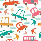 picture of swallow  - Colorful seamless pattern with cars and swallows - JPG