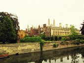 picture of academia  - Colleges of the University of Cambridge with back garden and the river Cam - JPG