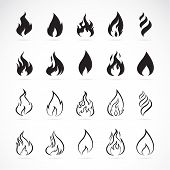 pic of ignite  - Vector set of flame symbols on white background - JPG