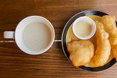 foto of soybean milk  - soybean milk with deep - JPG
