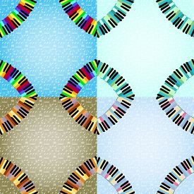 stock photo of rainbow piano  - piano frame with corners set in different colors - JPG