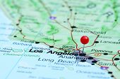 image of usa map  - Photo of pinned Los Angeles on a map of USA - JPG
