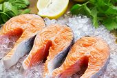image of salmon steak  - close - JPG
