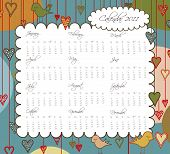 Sweet Calendar for the year 2011 with Birds and Hearts