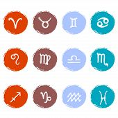 image of pisces horoscope icon  - Stock vector set of colorful icons - JPG