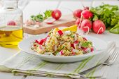 image of radish  - Couscous with radishes and herbs topped herbs and olive oil simple but delicious vegetarian food - JPG