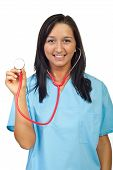 Young Doctor Woman Showing Stethoscope