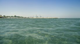 stock photo of larnaca  - Popular Larnaca beach on the island of Cyprus - JPG