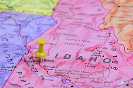 stock photo of boise  - Photo of pinned Boise on a map of USA - JPG