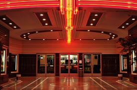 stock photo of movie theater  - lobby of a vintage movie theater in sacramento california - JPG
