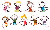 stock photo of animated cartoon  - jumping kids - JPG