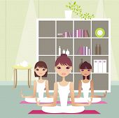 stock photo of young adult  - three Young girls doing yoga at home - JPG