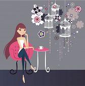 pretty girl having tea break