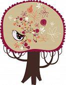 one big vector tree with bird