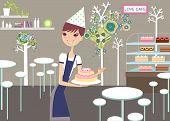 girl promoting lovely cakes
