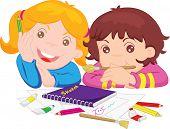 eine Abbildung der zwei Mädchen mit Malutensilien