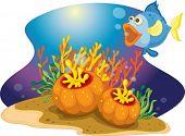 Fische mit offenem Mund in der Nähe von Ozean Pflanzen
