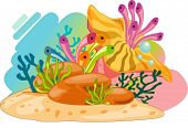 Colourful ocean plants and bubbles