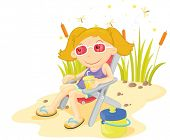 foto of catnip  - Girl relaxing with lemonade at a pond - JPG