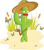 A green stylish cactus gunman