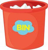 illustration of dustbin on white