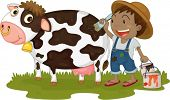 Illustration of A Boy Painting on a Cow on white background