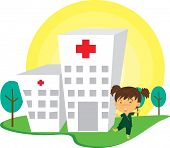 Illustration of A Patient Near Hospital on white background