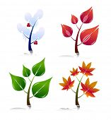 Four Season Style Trees. Easy To Edit Vector.