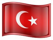 Turkey Flag Icon. ( With Clipping Path )