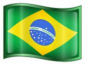Brazil Flag Icon. ( With Clipping Path )