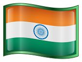 India Flag Icon. ( With Clipping Path )
