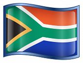 South Africa Flag Icon. ( With Clipping Path )