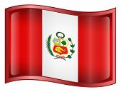 Peru Flag Icon. ( With Clipping Path )